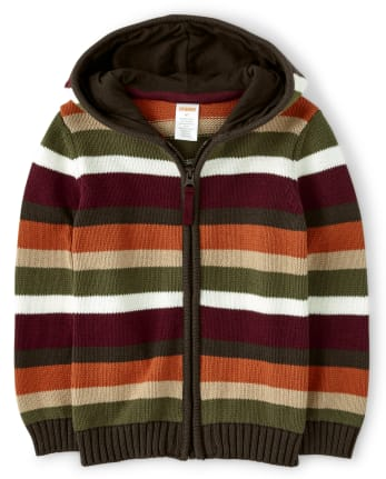 Boys Striped Zip Up Sweater - Critter Campout