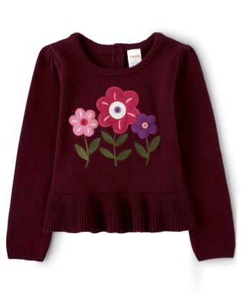 Girls Embroidered Floral Peplum Sweater - Tree House