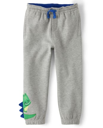 Boys Embroidered T-Rex Pull On Jogger Pants - Dino Dude