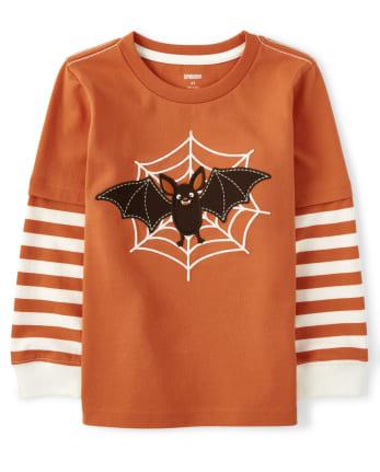 Boys Embroidered Bat Layered Top - Lil Pumpkin