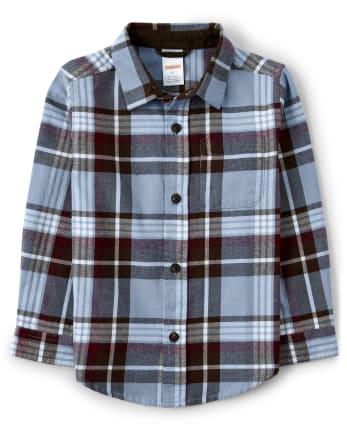 Boys Plaid Button Up Shirt - Critter Campout