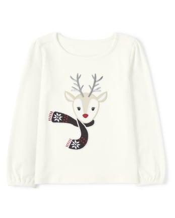 Girls Embroidered Reindeer Top - Reindeer Cheer