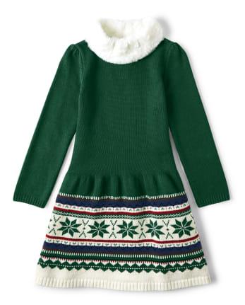 Girls Fairisle Sweater Dress - Family Celebrations Green