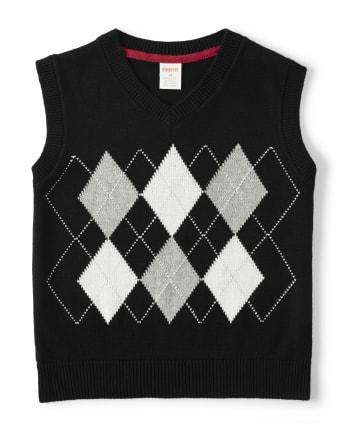 Boys Argyle Sweater Vest - Reindeer Cheer