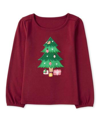 Girls Embroidered Christmas Tree Top - Ho Ho Ho