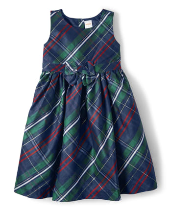 Girls Plaid Bow Dress - Family Celebrations Green