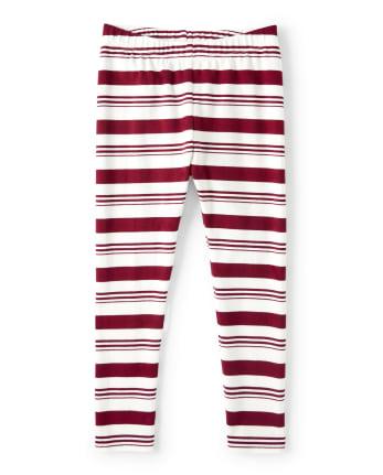 Girls Striped Leggings - Ho Ho Ho