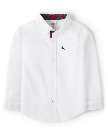 Boys Button Up Shirt - Family Celebrations Red