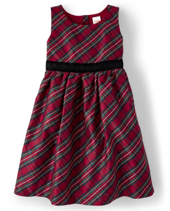 Girls Plaid Dress - Family Celebrations Red