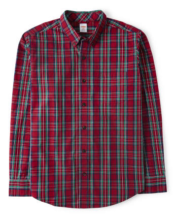 Mens Plaid Button Up Shirt - Family Celebrations Red