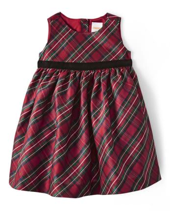 Baby Girls Plaid Dress - Family Celebrations Red