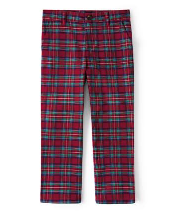 Boys Plaid Dress Pants - Family Celebrations Red
