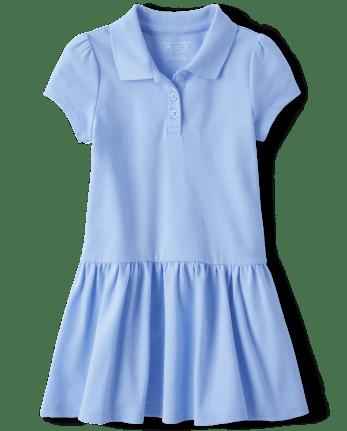 Vestido tipo polo de piqué de uniforme para niñas pequeñas