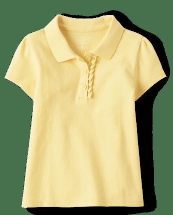 Polo de piqué con volante de uniforme para niñas pequeñas