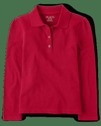 Girls Uniform Long Sleeve Pique Polo | The Children's Place