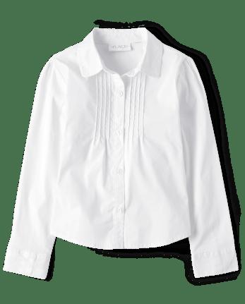 Girls Uniform Pintuck Poplin Button Down Shirt