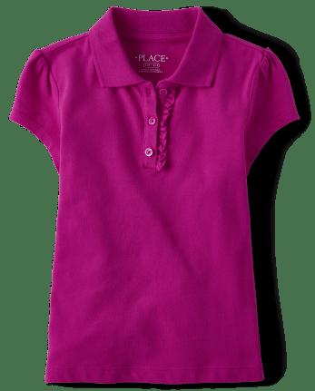 Girls Uniform Ruffle Pique Polo