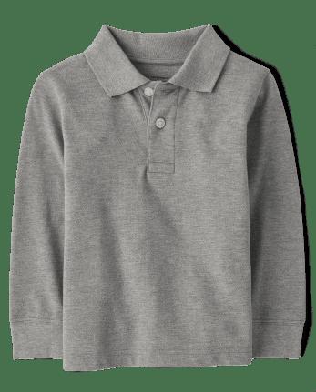 Polo de piqué de manga larga de uniforme para bebés y niños pequeños