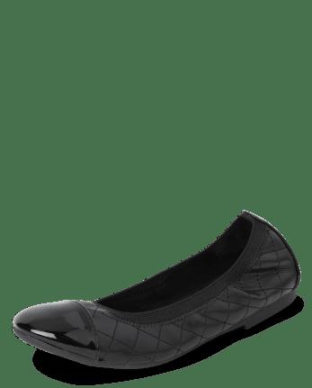 Girls Uniform Quilted Ballet Flats