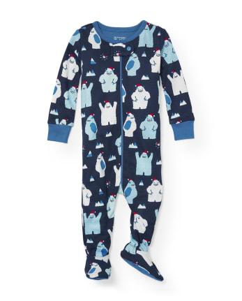 Baby And Toddler Boys Long Sleeve Santa Yeti Print Snug Fit Footed One Piece Pajamas