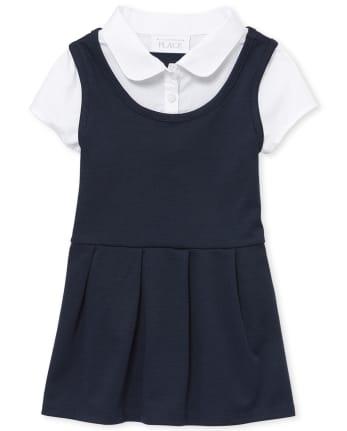 Vestido 2 en 1 Ponte Knit uniforme para niñas pequeñas