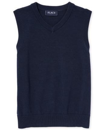 Chaleco de suéter con cuello en V uniforme para niños
