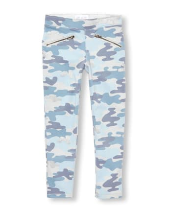 Girls Glitter Camo French Terry Pull On Jeggings