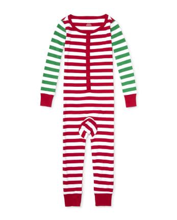 Unisex Kids Matching Family Long Sleeve Striped Snug Fit Cotton One Piece Pajamas