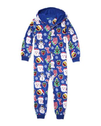Unisex Kids Matching Family Long Sleeve Christmas Emoji Fleece Hooded One Piece Pajamas