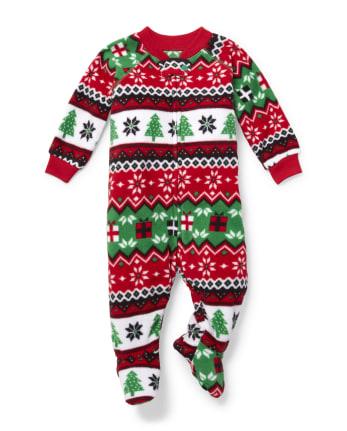 Unisex Baby And Toddler Matching Family Fair Isle Fleece One Piece Pajamas