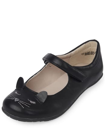 Girls Uniform Embroidered Cat Shoes