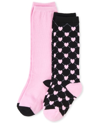 Girls Uniform Heart Print Knee Socks 2-Pack