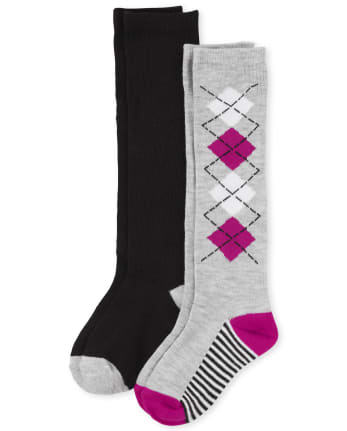 Girls Uniform Argyle Knee Socks 2-Pack
