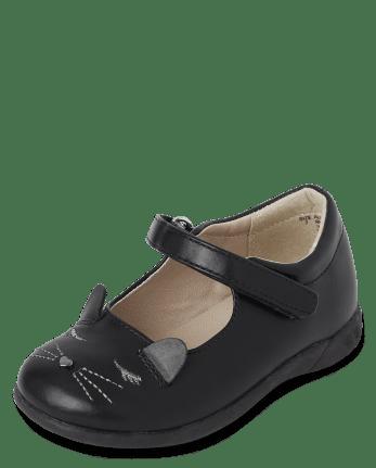 Zapatos de gato bordado uniforme para niñas pequeñas