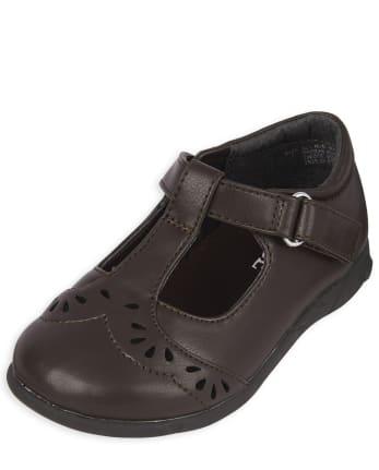Zapatos con correa en T de flores cortadas con láser y uniforme para niñas pequeñas
