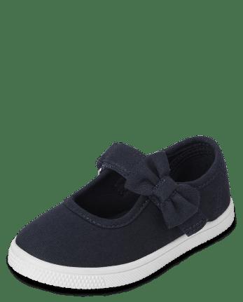 Zapatillas de lona con correa de lazo uniforme para niñas pequeñas