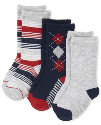 Toddler Boys Uniform Argyle Crew Socks 3-Pack