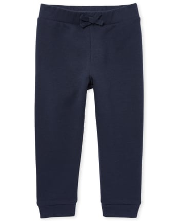Pantalones de chándal de felpa francesa activos de uniforme para niñas pequeñas