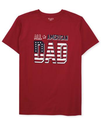 Camiseta con gráfico americana de la familia a juego para hombre