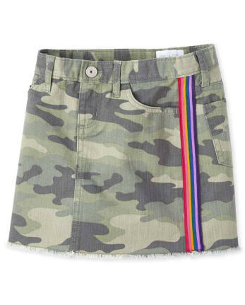 Girls Size 4T5T Long Denim and Camo Skirt