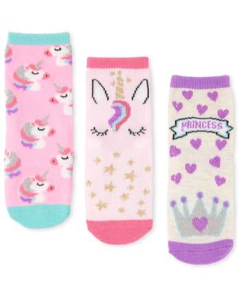 GIRLS SOCKS 3 PAIRS PACKS 6-8 9-12 13-3 PINK EMOJI KIDS CHILDRENS UNICORNS