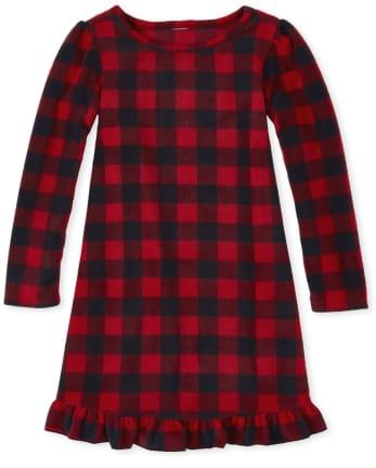 Girls Matching Family Buffalo Plaid Fleece Nightgown