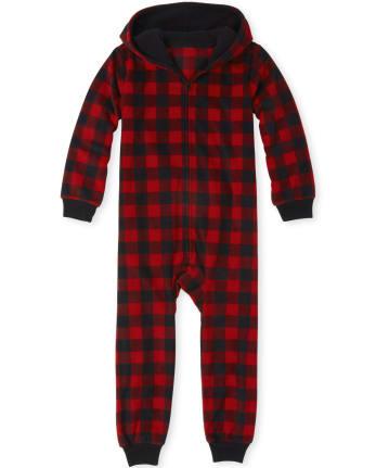 Unisex Kids Matching Family Buffalo Plaid Fleece One Piece Pajamas