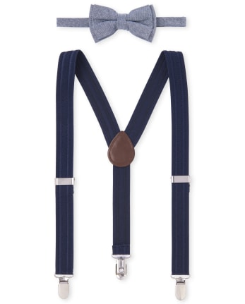Boys Chambray Matching Bow Tie And Suspenders Set