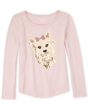 Girls Embellished Dog Curved Hem Top