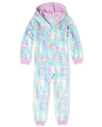 Girls Llama Cozy Fleece One Piece Pajamas