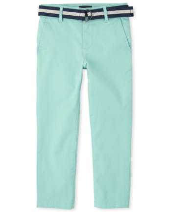 Boys Belted Stretch Chino Pants