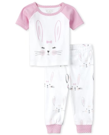 Baby And Toddler Girls Mommy And Me Bunny Matching Snug Fit Cotton Pajamas