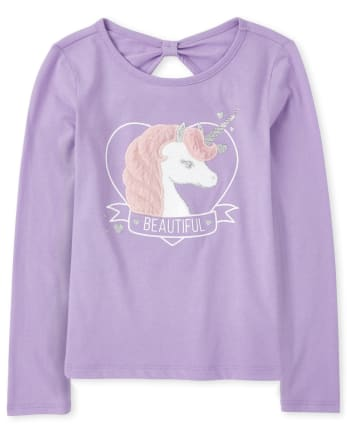 Girls Faux Fur Unicorn Bow Back Top