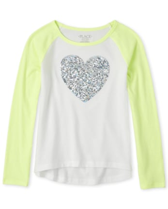 Girls Sequin Raglan Top